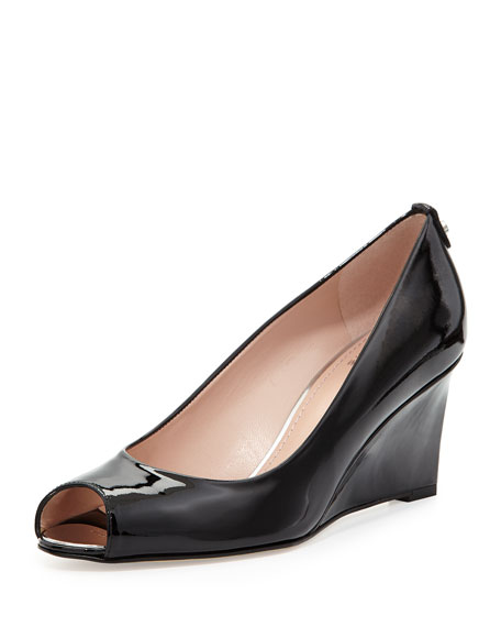 Loire Patent Peep-Toe Wedge Pump, Black