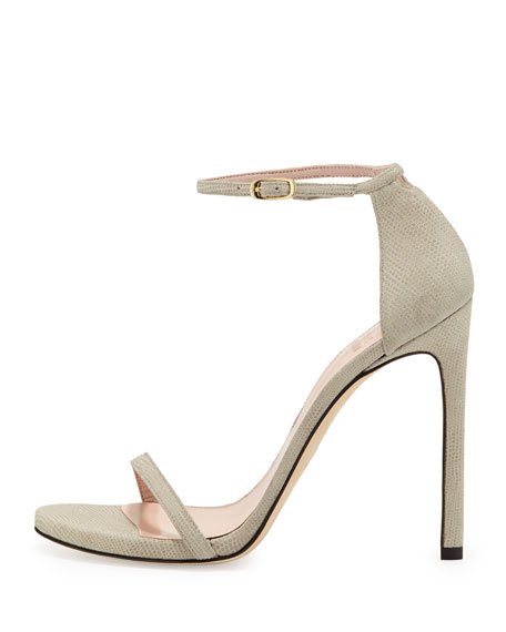 Stuart Weitzman Nudist Ankle-Strap Sandal, Fawn