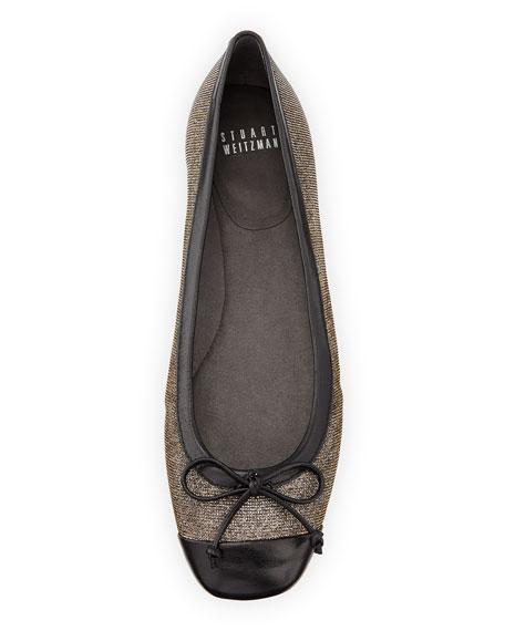 Stringtip Glittery Cap-Toe Ballet Flat, Pyrite