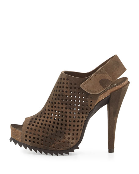 Perforated Suede Slingback Bootie, Camo Print