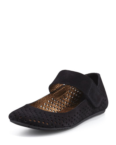 Ylenia Perforated Suede Mary Jane Flat, Black