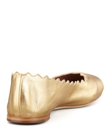 Chloe Scalloped Metallic Leather Ballerina Flat