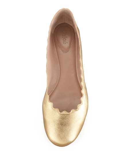 Scalloped Metallic Leather Ballerina Flat