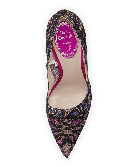 Pointy-Toe Glitter Lace Pump, Black/Fuchsia