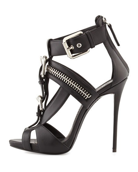 Buckled T Strap Biker Sandal, Black