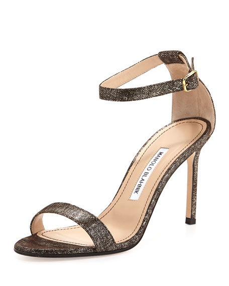 Manolo Blahnik Chaos Metallic Suede Sandal, Brown