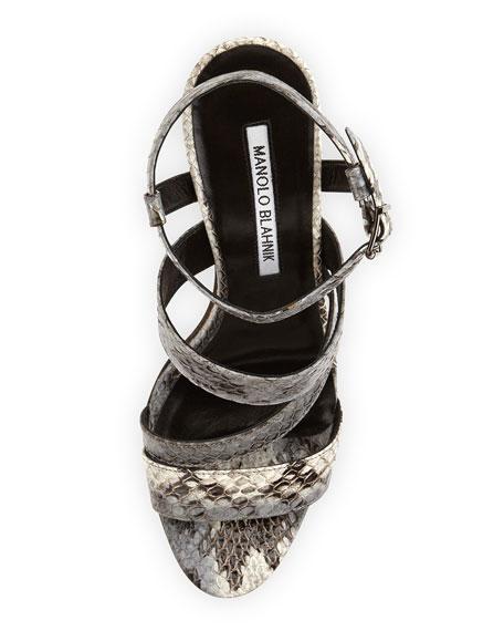 Felix Strappy Snakeskin Sandal, Gray