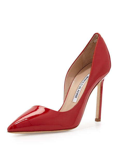 Manolo Blahnik Stresty Patent Half-d'Orsay Pointy-Toe Pump, Red
