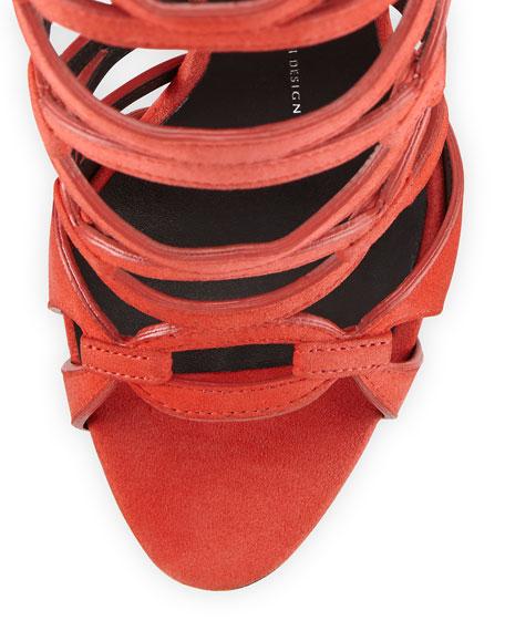 Suede Circle Cutout Sandal, Tulipano