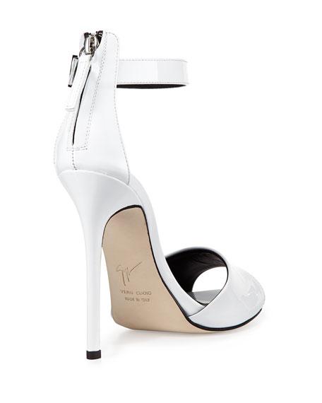 Patent Ankle-Strap Sandal, Bianco