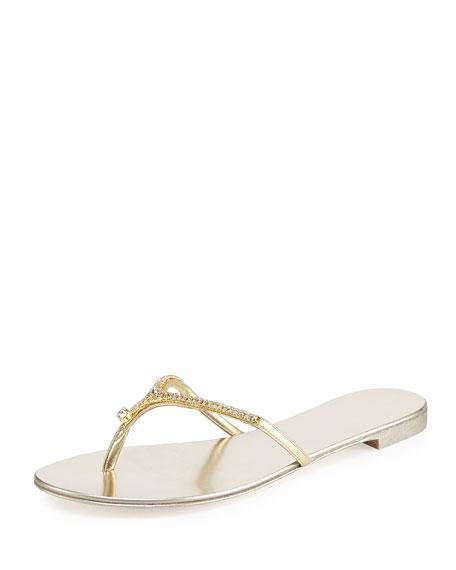 Giuseppe Zanotti Metallic Crystal Thong Sandal, Gold