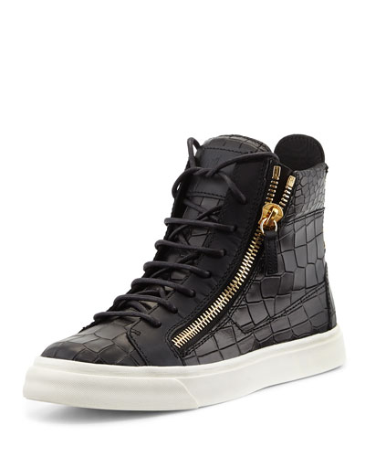 Inexpensive Giuseppe Zanotti Sneakers - Giuseppe Zanotti Crocodile Print High Top Sneaker Nero Prod174260607 P.prod