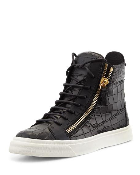 Crocodile-Print High-Top Sneaker, Nero