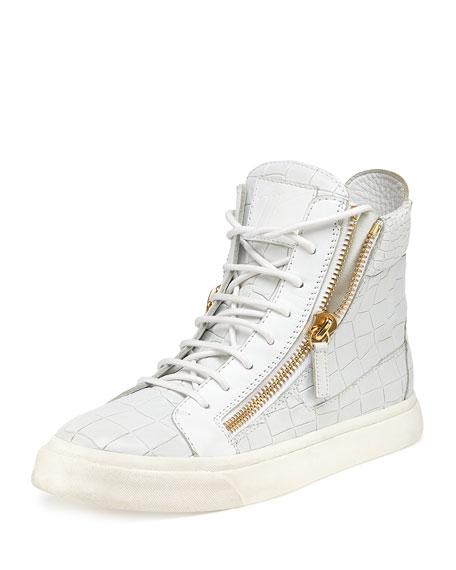 Crocodile Print High Top Sneaker, Bianco (White)
