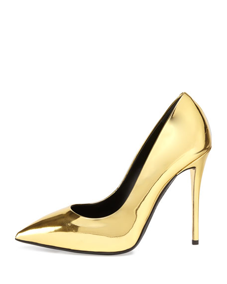 Metallic Leather Pointed-Toe Pump, Oro (Gold)