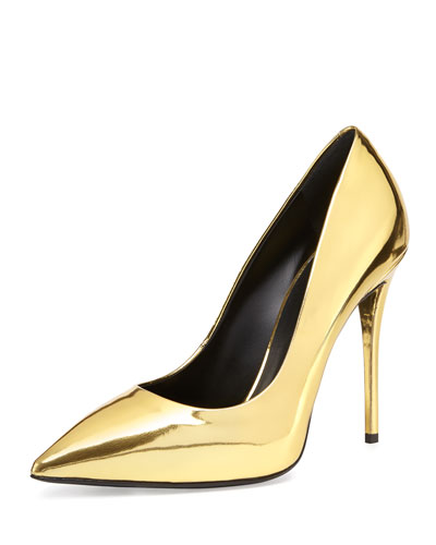 Giuseppe Zanotti  Metallic Leather Pointed-Toe Pump, Oro (Gold)