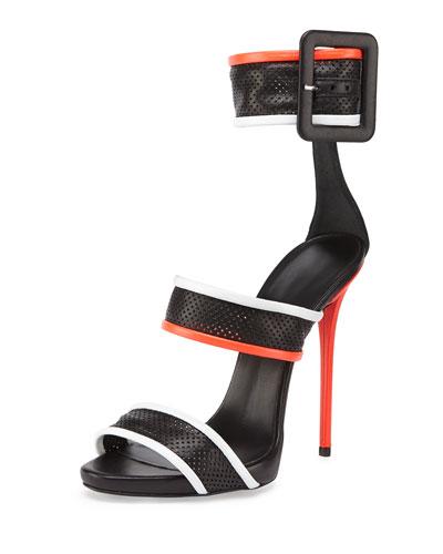 Giuseppe Zanotti Leather Mesh Triple-Strap Sandal