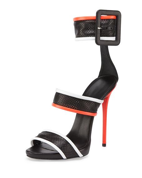 Leather Mesh Triple-Strap Sandal