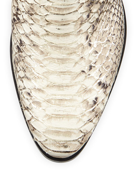 Giuseppe Zanotti Silver-Tipped Python-Embossed Leather Bootie, Platino