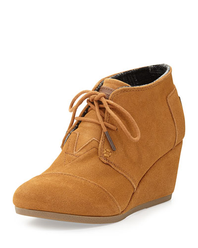 Suede Desert Wedge Boot, Chestnut