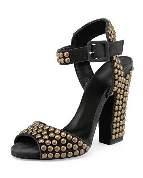 Giuseppe Zanotti Studded Suede Chunky-Heel Sandal