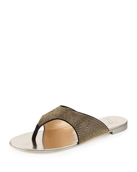 Giuseppe Zanotti Micro-Studded Flat Suede Thong Sandal