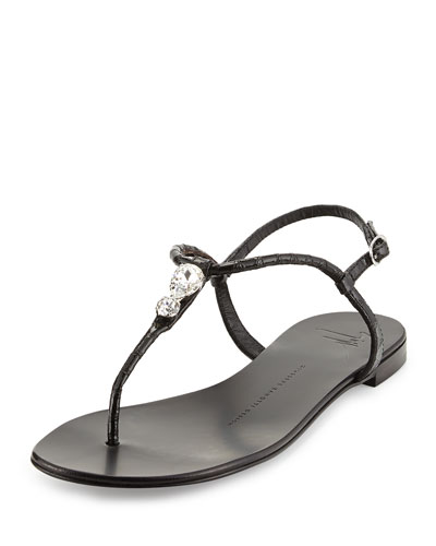 Snake-Print Crystal Thong Sandal, Black