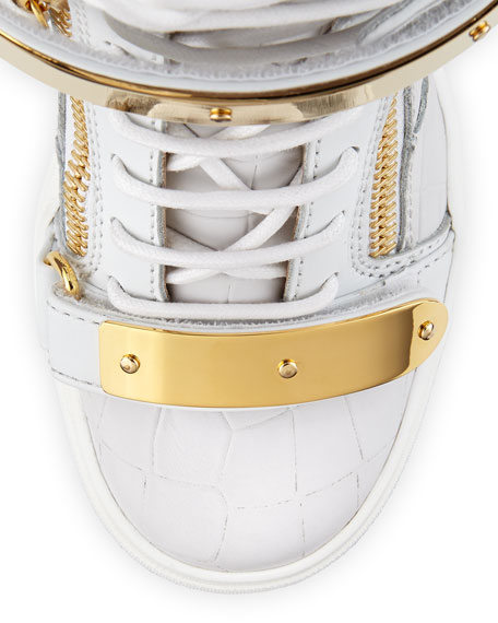 Embossed Double-Strap Wedge Sneaker