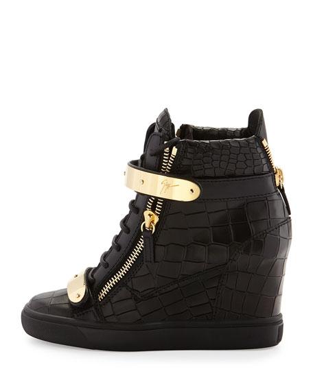 Crocodile-Embossed Wedge Sneaker, Nero
