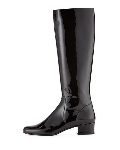 Saint Laurent Patent Leather Knee Boot, Black