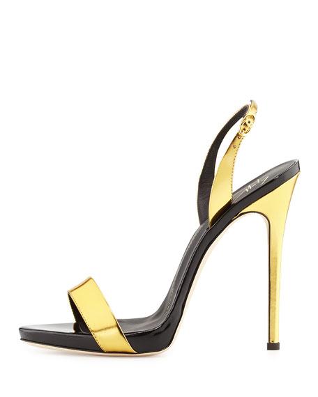 Giuseppe Zanotti Metallic High-Heel Halter Sandal Gold/Black
