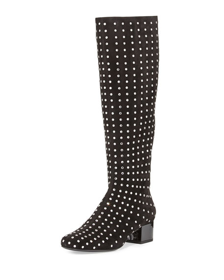 Saint Laurent Suede Crystal-Stud Knee Boot, Black