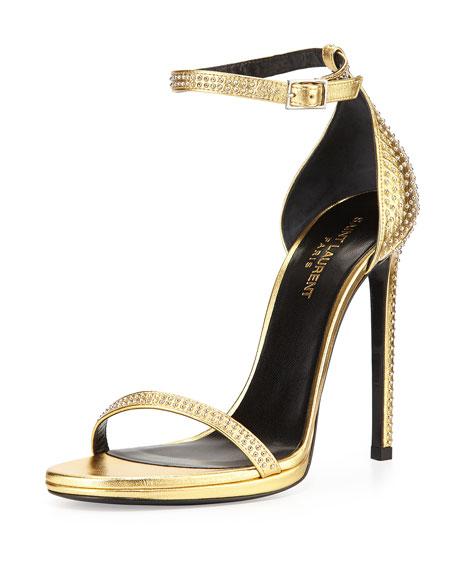 Studded Ankle-Strap Sandal, Gold