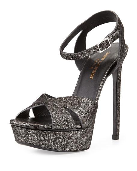 Saint Laurent Metallic Embossed Ankle-Strap Platform Sandal