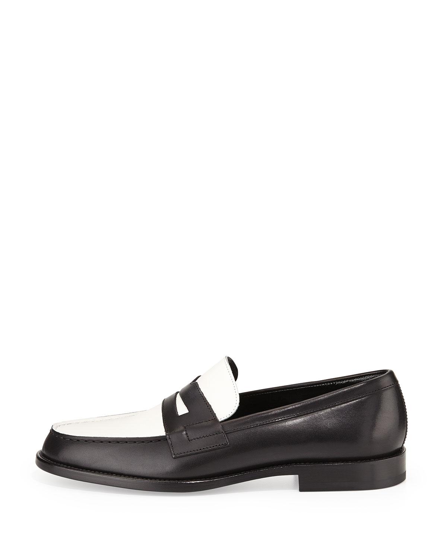 d76ea1d4e69f5 Saint Laurent Bicolor Leather Loafer, Black/White | Neiman Marcus