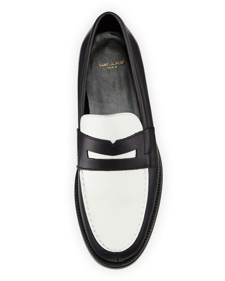 Bicolor Leather Loafer, Black/White
