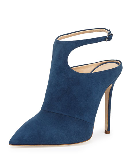 Giuseppe Zanotti Suede Point-Toe Ankle-Wrap Mule, Blue