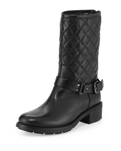 Sage Quilted Leather Moto Boot, Black