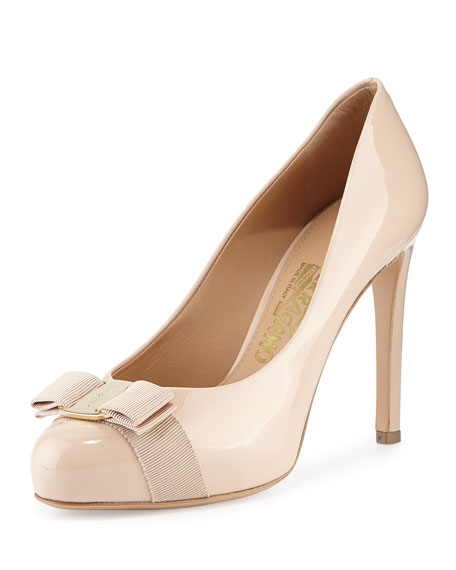 Salvatore Ferragamo Pimpa Patent Bow Pump, New Bisque