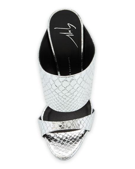 Snake-Embossed Slide Sandal, Silver