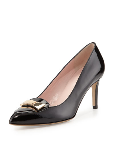 kate spade new york yvonne patent bow pump, black