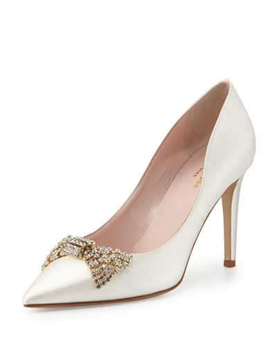 kate spade new york pezz satin crystal bridal pump, ivory