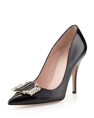 kate spade new york laylee patent ornament pump, black