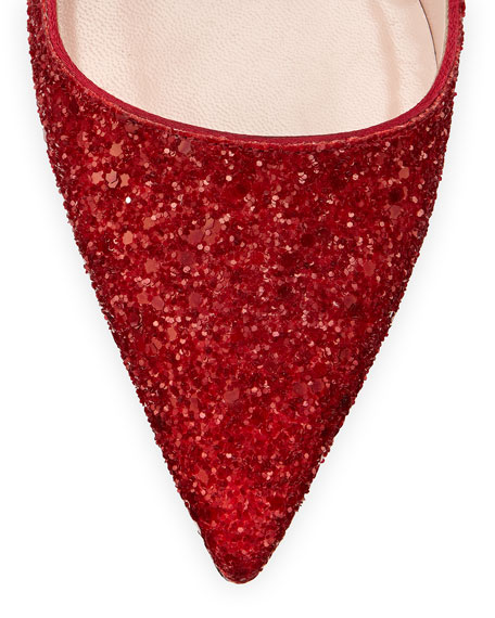 kate spade new york licorice glitter point-toe pump, red