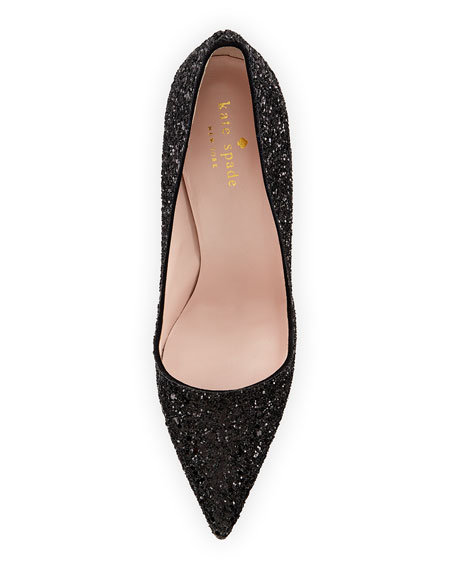 licorice glitter point-toe pump, black