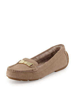 peso suede shearling fur loafer, pale taupe