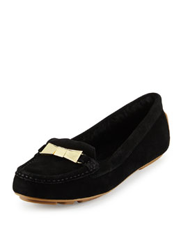 peso shearling-lined suede loafer, black