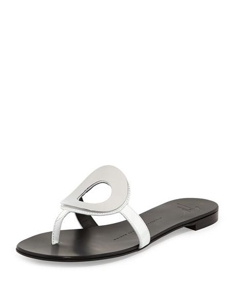 Giuseppe Zanotti Circle Patent Thong Sandal, Bianco/Silver