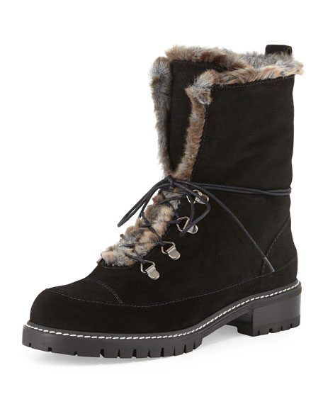 Bobsled Shearling-Trim Combat Boot