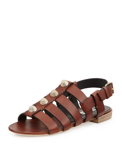 Balenciaga Studded Leather Flat Sandal, Cognac
